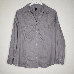 Lane Bryant Gray Silver Button Down Shirt